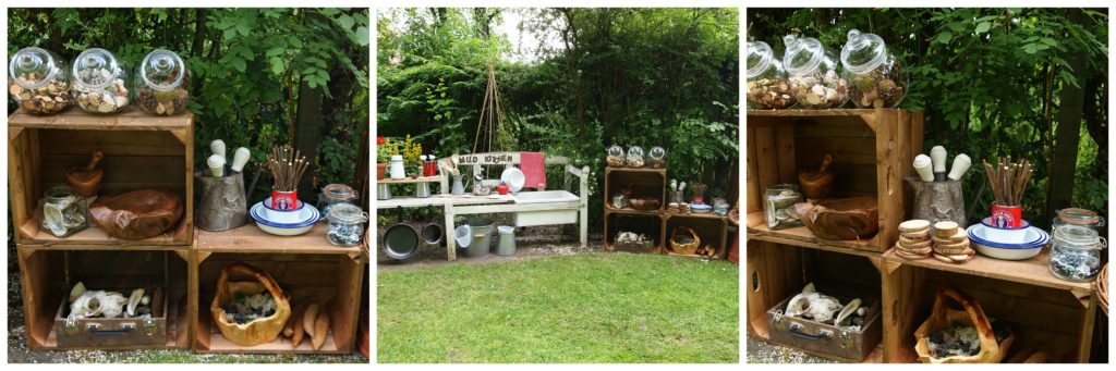 So many loose parts, tools and objects to manipulate. I think it is really key to have all of these materials available. The entire post about this mud kitchen is really amazing - you should click through for sure!