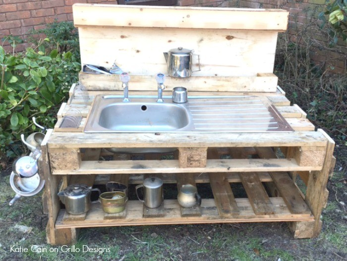 We plan to reuse the sink and tap from our current kitchen for the mud kitchen. Something like this would work well, we just have to figure out how to hook it up to water.
