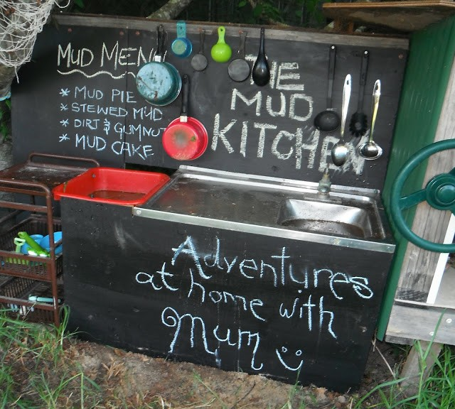 For emerging writing skills, I want to include a chalkboard in our mud kitchen.